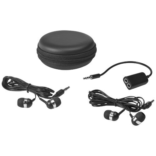 Sound Off Earbuds and Splitter With Case